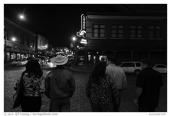 Fort Worth Stockyards at night. Fort Worth, Texas, USA (black and white)