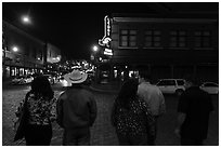 Fort Worth Stockyards at night. Fort Worth, Texas, USA ( black and white)