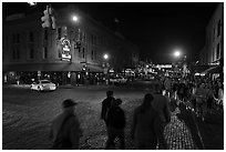Street crossing at night, Fort Worth Stockyards. Fort Worth, Texas, USA ( black and white)