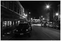 Street at night, Stockyards. Fort Worth, Texas, USA ( black and white)