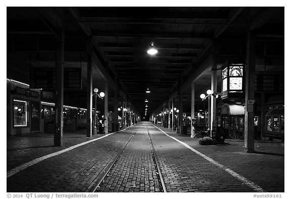 Station at night, Stockyards. Fort Worth, Texas, USA (black and white)