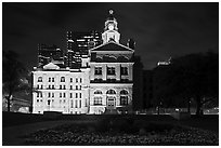 Courthouse at night. Fort Worth, Texas, USA ( black and white)