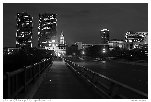 Bridge, courthouse, and skyline at night. Fort Worth, Texas, USA (black and white)