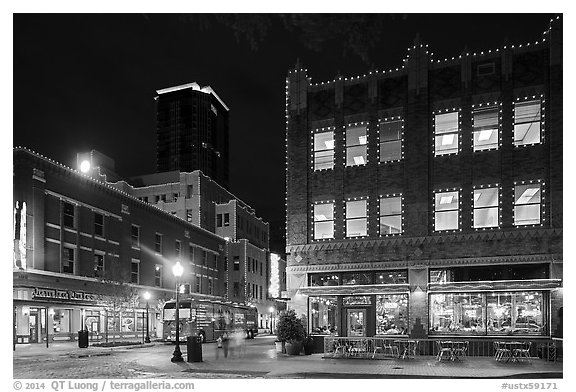 Dowtown street at night. Fort Worth, Texas, USA (black and white)