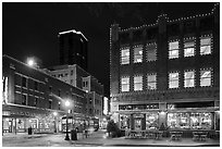 Dowtown street at night. Fort Worth, Texas, USA ( black and white)