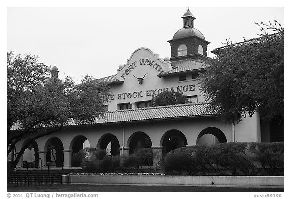 Forth Worth live stock exchange. Fort Worth, Texas, USA (black and white)