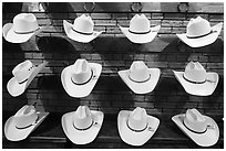 Light cowboy hats for sale. Fort Worth, Texas, USA ( black and white)