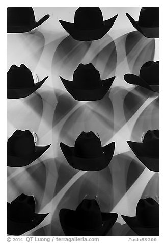 Dark cowboy hats for sale. Fort Worth, Texas, USA (black and white)