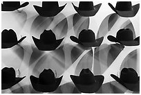 Cowboy hats and shadows. Fort Worth, Texas, USA ( black and white)