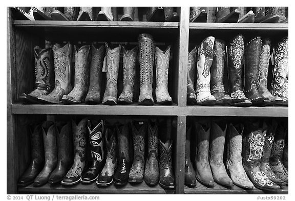 Leather cowboy boots for sale. Fort Worth, Texas, USA (black and white)