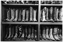 Leather cowboy boots for sale. Fort Worth, Texas, USA ( black and white)