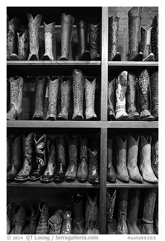 Cowboy boots for sale. Fort Worth, Texas, USA (black and white)