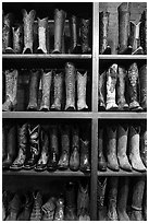 Cowboy boots for sale. Fort Worth, Texas, USA ( black and white)