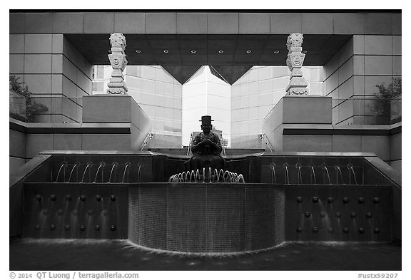 Entrance of Crow Collection of Asian Art. Dallas, Texas, USA (black and white)