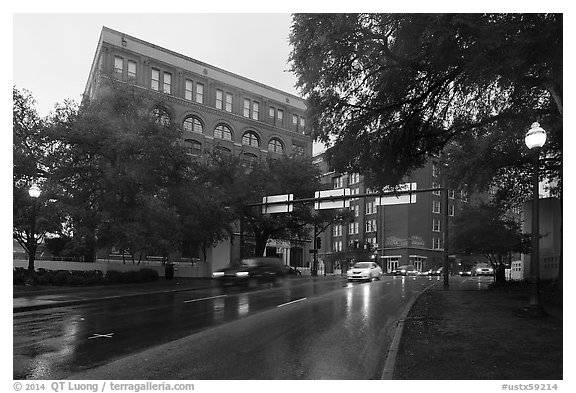 Elm Street with X marking JFK assassination spot and Texas School Book Depository,. Dallas, Texas, USA (black and white)