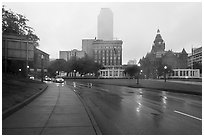 Dealey Plazza in the rain. Dallas, Texas, USA ( black and white)