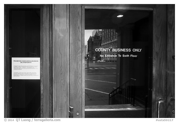 Entrance of Texas School Book Depository,. Dallas, Texas, USA (black and white)