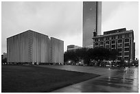 John F Kennedy Memorial Plaza. Dallas, Texas, USA ( black and white)