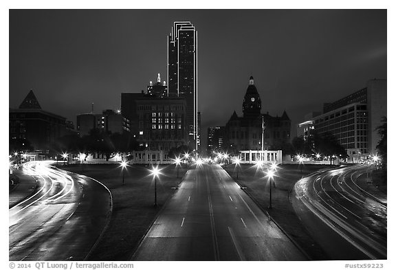 Dealey Plazza and skyline by night. Dallas, Texas, USA (black and white)