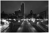 Dealey Plazza and skyline by night. Dallas, Texas, USA ( black and white)