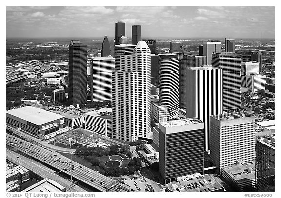 Aerial view of Skyline District. Houston, Texas, USA (black and white)