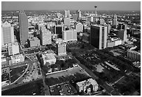Aerial view of downtown. San Antonio, Texas, USA ( black and white)