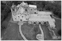 Aerial view of Mission Concepcion. San Antonio, Texas, USA ( black and white)