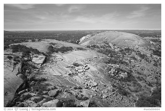 Aerial view of Enchanted Rock granite domes. Texas, USA (black and white)