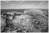 Aerial view of Enchanted Rock granite domes. Texas, USA ( black and white)