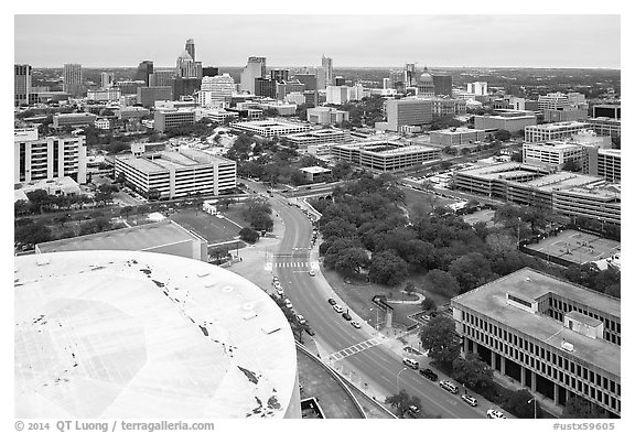 Aerial view of Austin skyline from above Frank Erwin Center. Austin, Texas, USA (black and white)