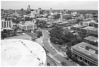 Aerial view of Austin skyline from above Frank Erwin Center. Austin, Texas, USA ( black and white)