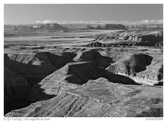San Juan Canyon from Muley Point, with Monument Valley in the distance. Utah, USA (black and white)