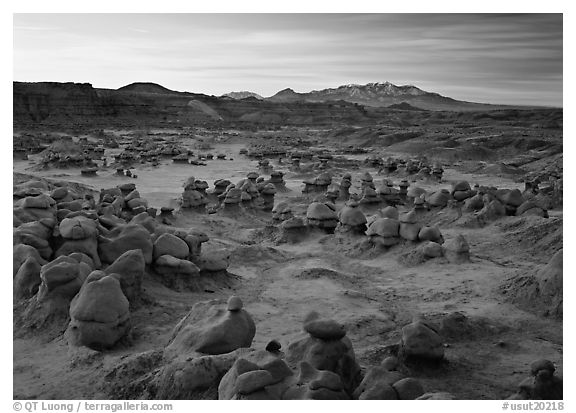 Goblins and snowy mountains at sunrise, Goblin State Park. Utah, USA (black and white)