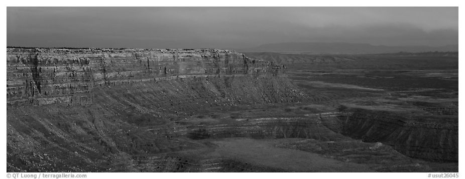 Canyon and cliffs at sunset. Utah, USA (black and white)
