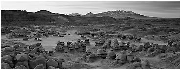Goblin Valley landscape. Utah, USA (Panoramic black and white)