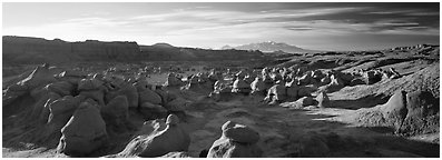 Goblin Valley scenery. Utah, USA (Panoramic black and white)