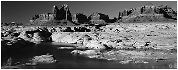 Lake Powell and cliffs, Glen Canyon National Recreation Area, Arizona. USA (Panoramic black and white)