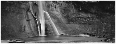 Desert waterfall. Utah, USA (Panoramic black and white)