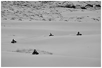Four-wheelers on dunes, Coral pink sand dunes State Park. Utah, USA (black and white)