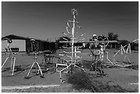 Modern sculptures, Hanksville. Utah, USA (black and white)