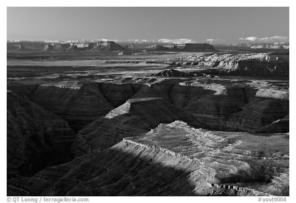 San Juan drainage from Muley Point, with Monument Valley in the background, morning. Utah, USA (black and white)