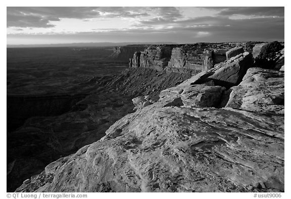 Cliffs near Muley Point, sunset. Utah, USA (black and white)