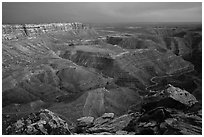 Cliffs near Muley Point, dusk. Utah, USA (black and white)