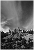 Hoodoos and clouds, Red Canyon, Dixie National Forest. Utah, USA ( black and white)