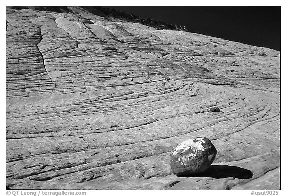 Boulder and striated Sandstone, Burr Trail, Grand Staircase Escalante National Monument. Utah, USA (black and white)