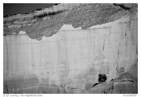 Red cliffs of Entrada sandstone, sunset, Kodachrome Basin State Park. Utah, USA (black and white)