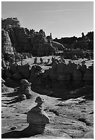 Goblins, early morning, Goblin Valley State Park. Utah, USA ( black and white)