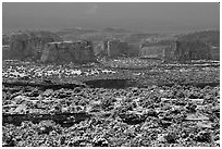 Cliffs in recent snow, San Rafael Swell. Utah, USA ( black and white)