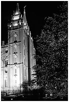 Great Mormon Temple with Christmas lights, Salt Lake City. Utah, USA (black and white)
