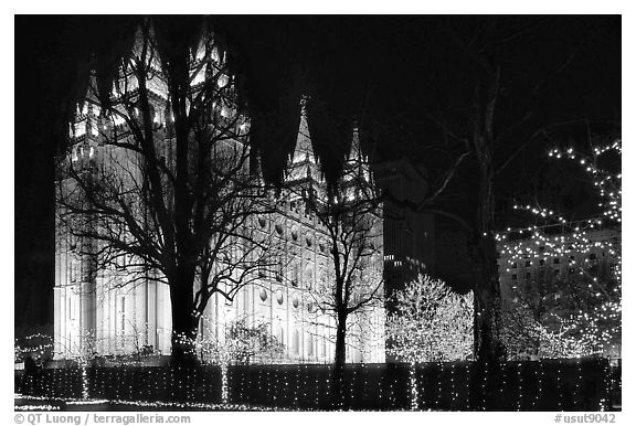 Black and white picture photo great temple of the church of jesus christ of latter day saints salt lake city utah usa